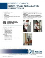 Remodel Garage Door Frame Installation Instructions